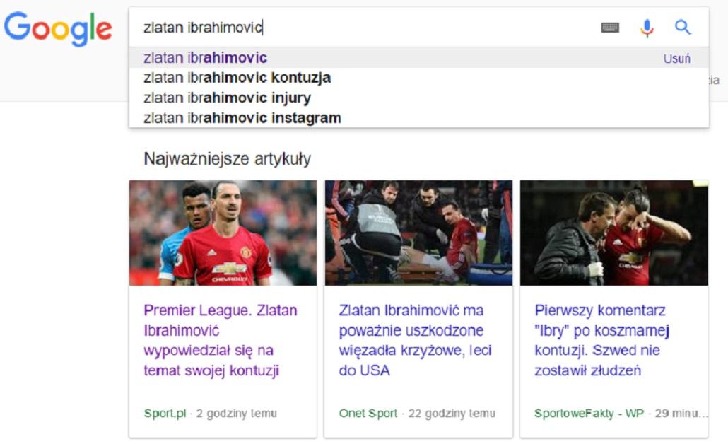 Ibrahimovic w google
