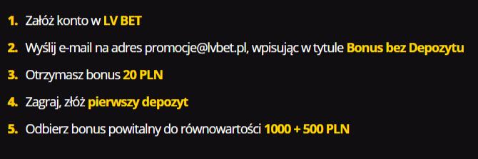 Instrukcja jak otrzymać freebet 20 pln w LV BET