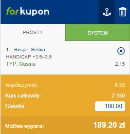 Kupun z wygraną Rosji +3,5
