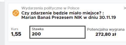 Marian Banaś Prezesem NIK 30.11.2019 - typ w Betclic