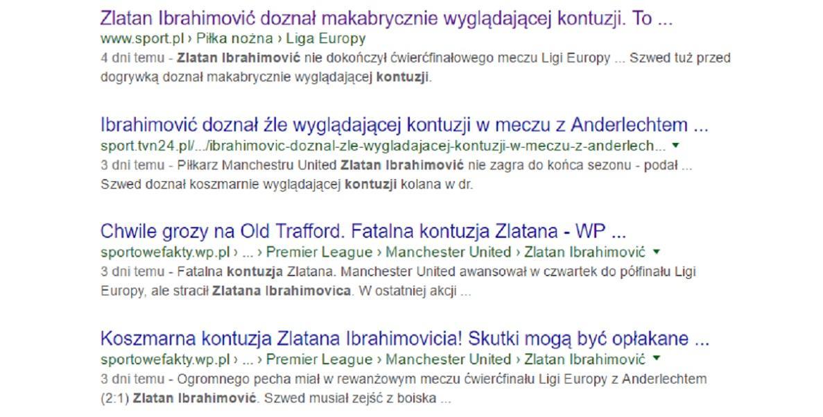 Tytuły w sieci po kontuzji Zlatana