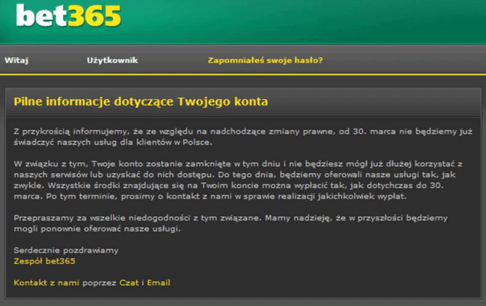 bet365 - komunikat
