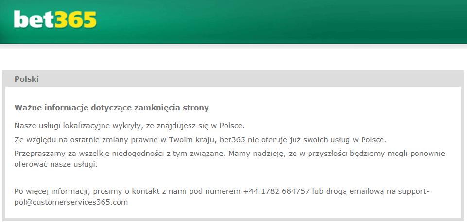bet365 - komunikat Polska