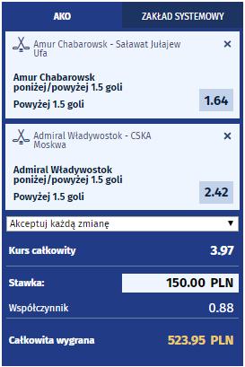 eWINNER kupon KHL Admirał, CSKA