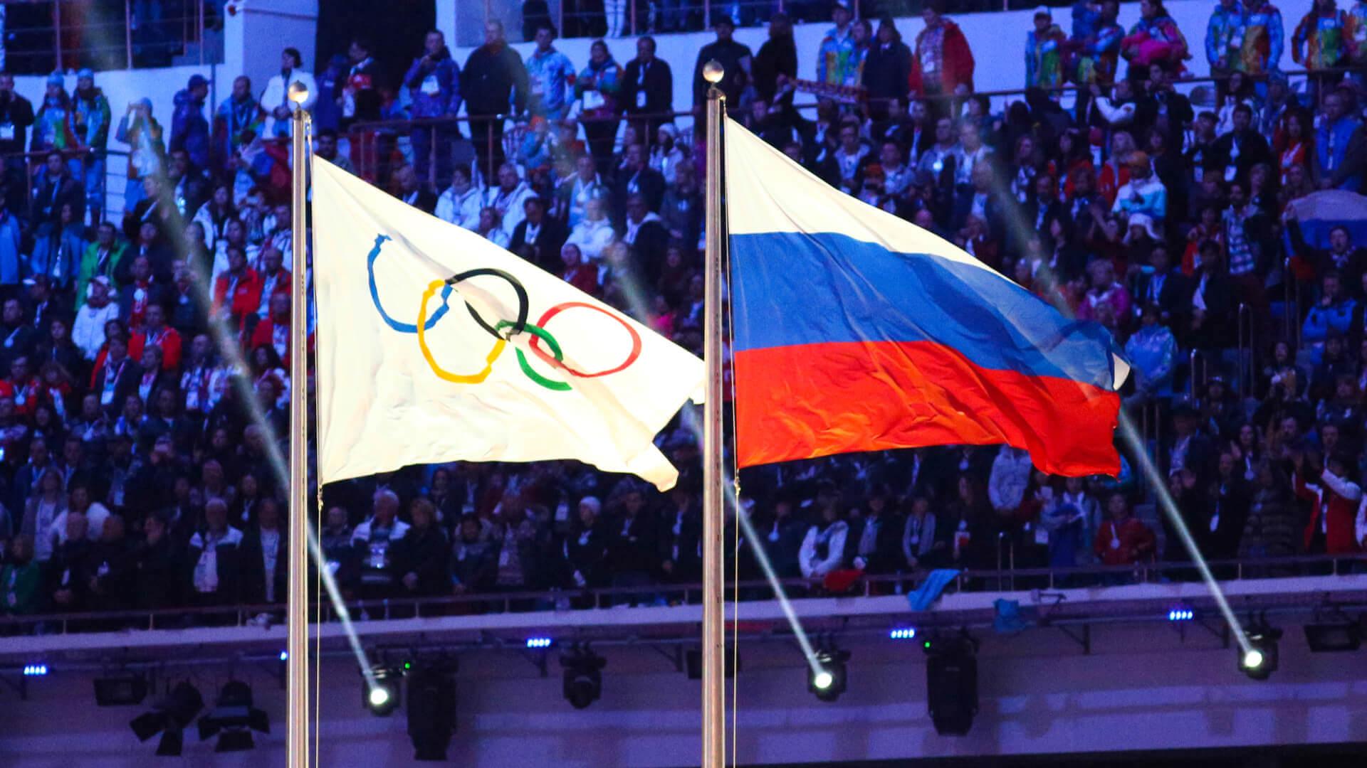 Flaga olimpijska i rosyjska