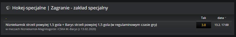 KHL gramy zakład specjalny 13.02